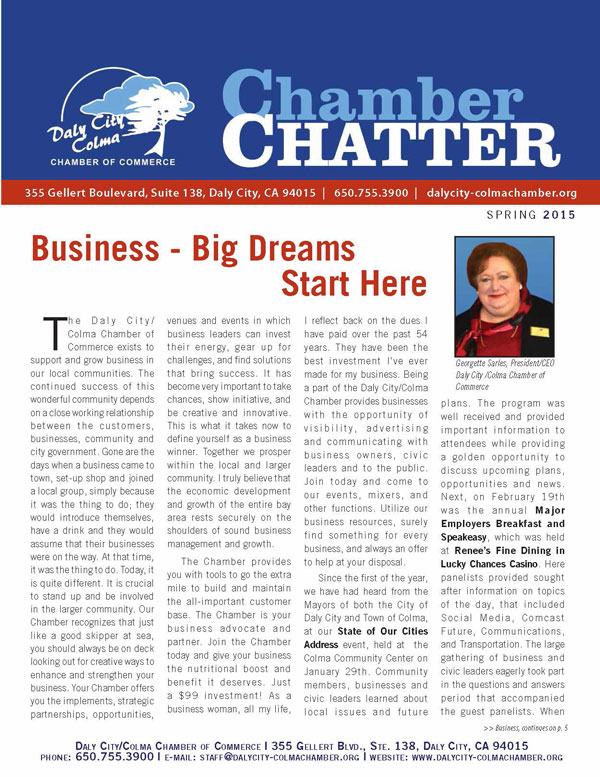 2015 Spring  Edition of the Daly City/Colma Chamber Chatter