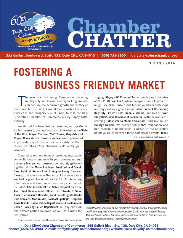 2016 Spring Edition of the Daly City/Colma Chamber Chatter