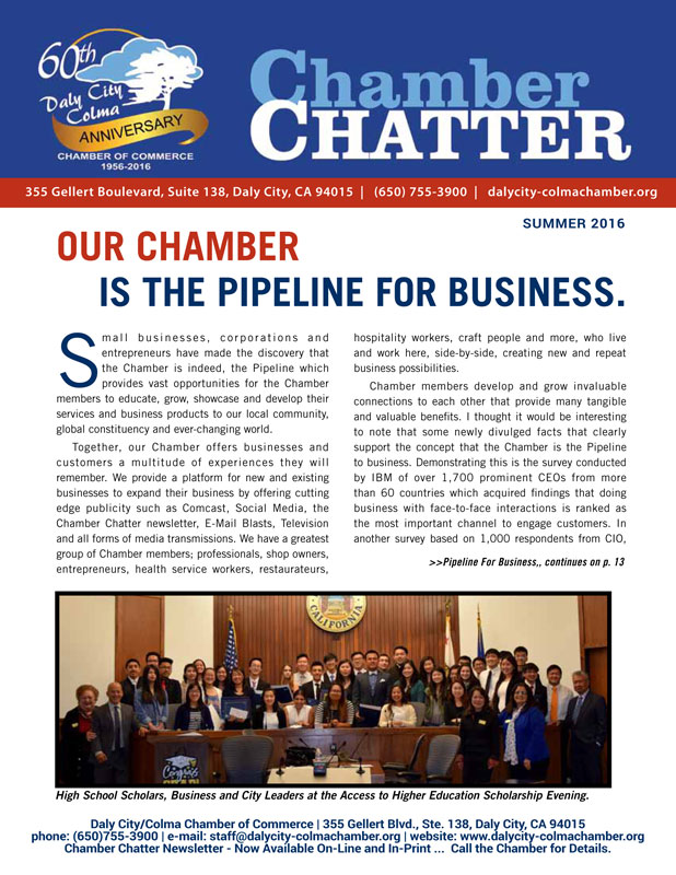 2016 Summer Edition of the Daly City/Colma Chamber Chatter
