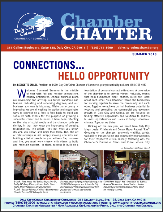 2018 Summer Edition of the Daly City/Colma Chamber Chatter